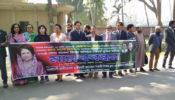 রাবিতে সাদাদলের মানববন্ধন 'বঙ্গজননী খালেদা জিয়া'
